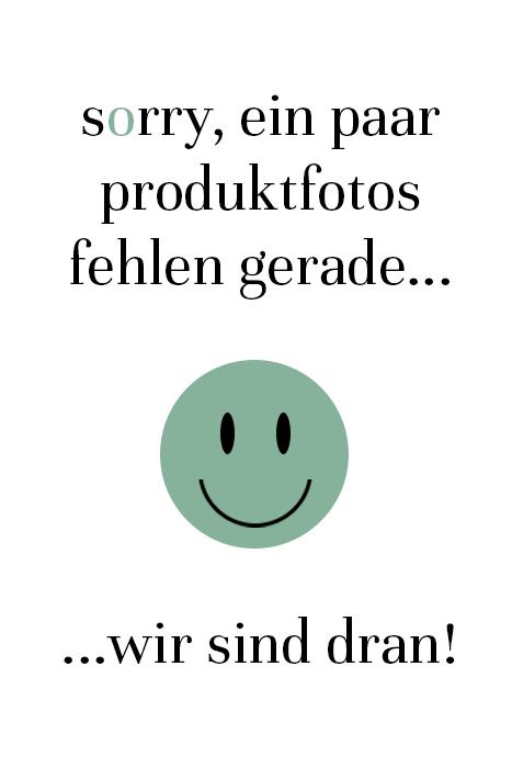 Hermann Lange Cardigan in Schwarz aus 99% Polyester, 1% Elasthan. Print-Cardigan aus Jersey mit aufgesetzten Volants, Zweiwege-Reißverschluss und schmalen Bündchen