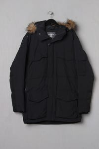 H&M LOGG -  wintermantel  mit kapuze  mit faux fur-kragen - S