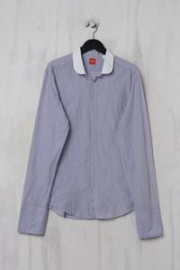 BOSS HUGO BOSS -  gestreiftes hemd  mit langem ärmel  aus baumwolle - L