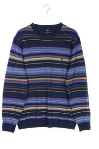 FYNCH-HATTON - streifen-rundhals-pullover aus merino-wolle mit elbow patches - XL