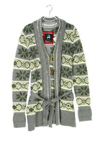ALPRAUSCH - norweger-cardigan aus woll-mix mit gürtel - S