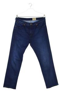 WRANGLER - dark denim slim-jeans mit logo-patch - XL