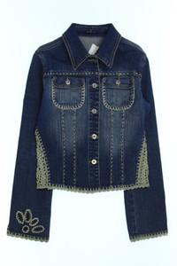 SPRING ONE - jeans-jacke mit häkelspitze - D 36