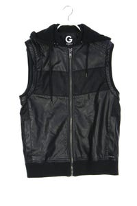 G by GUESS - faux leather-weste mit logo-plakette - S