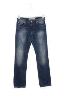 Calvin Klein Jeans - used look straight cut jeans mit logo-badge - W31