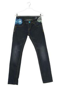 Desigual - used look straight cut jeans  mit applikationen - W26