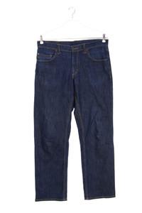 MUSTANG - dark denim straight cut jeans mit logo-patch - W35