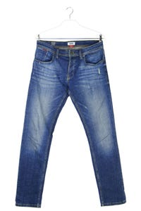 TOMMY JEANS - distressed straight cut jeans mit logo-patch - W32