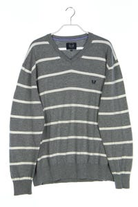 paul kehl - baumwoll-strick-pullover mit v-neck mit streifen - XL