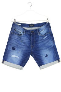 JACK & JONES - used look jeans-shorts mit logo-badge - S