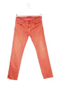 HUGO HUGO BOSS - used look straight cut jeans mit logo-patch - W35