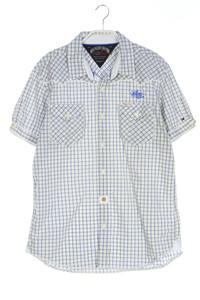 Hilfiger Denim - kariertes kurzarm-hemd mit logo-stickerei - L