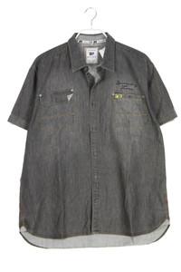 MILANO ITALY - jeans-kurzarm-hemd mit aufgesetzten taschen - XL