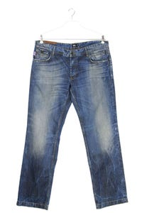 D&G DOLCE & GABBANA - used look straight cut jeans mit logo-patch - W38