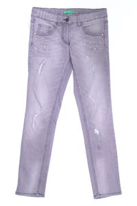 UNITED COLORS OF BENETTON - jeans im used look mit perlen - 140