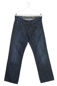 ESPRIT - dark denim straight cut jeans mit logo-patch - W32