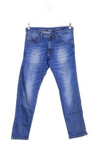 JOOP! - used look straight cut jeans mit logo-patch - W35