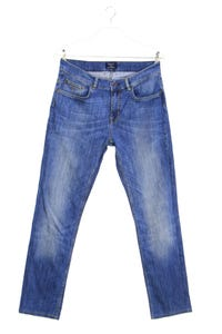 GANT - used look straight cut jeans mit logo-patch - W33