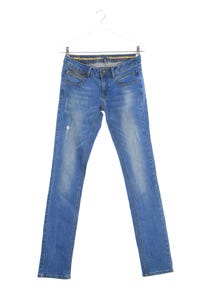 NILE - used look straight cut jeans mit logo-badge - XS