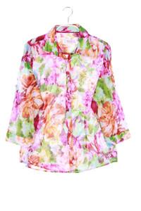 MILANO ITALY - print-hemd-bluse mit 3/4-ärmel - D 38