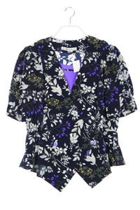 HARDOB - vintage-kurzarm-bluse mit blumen-print - D 44