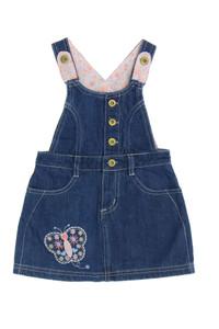 smile - jeans-latz-kleid mit stickereien - 86