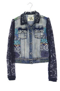 Desigual - jeans-jacke mit häkelspitze - D 38