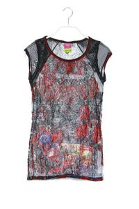 SAVE THE QUEEN! - kurzarm-shirt aus mesh mit floralem muster - S