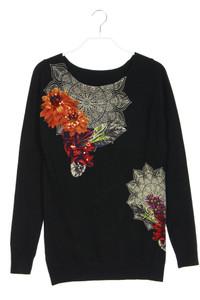 Desigual - strick-pullover mit blumen-print - S