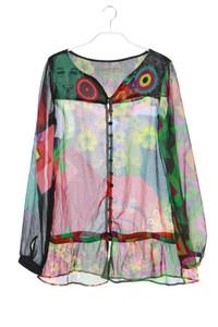 Desigual - chiffon-hemd-bluse mit print - S