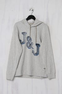 JACK & JONES - Kapuzen-Pullover aus Baumwoll-Mix mit Logo-Print - XL