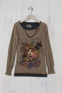 Desigual - Longsleeve-Shirt mit Patches - XS