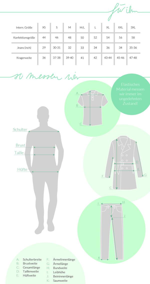 Größentabelle für Herren Mode und Accessoires