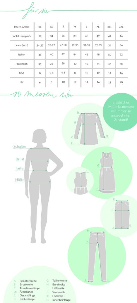 Größentabelle für Damen Mode und Accessoires